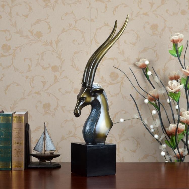Полимерная для домашнего декора статуя голова антилопы Ретро отель фэн шуй креативный номер статуя Рождественское украшение Высокое Качество Классическое ремесло - 3