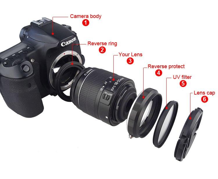 Conjunto de protección del adaptador reverso de la lente Macro de la cámara para Canon 60D 70D 80D 600D 700D 750D 800D 1200D 100D reinstalado 58mm filtro UV
