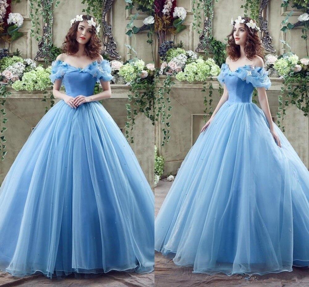 Newest Light Blue Ball Gown Princess Wedding Dresses 2016