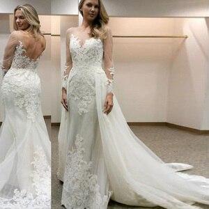 Image 3 - Elegant Scoop Sheer Neckline Full Sleeves Sheath Wedding Dress with Lace Applique Backless Bridal Dress Vestido de novia