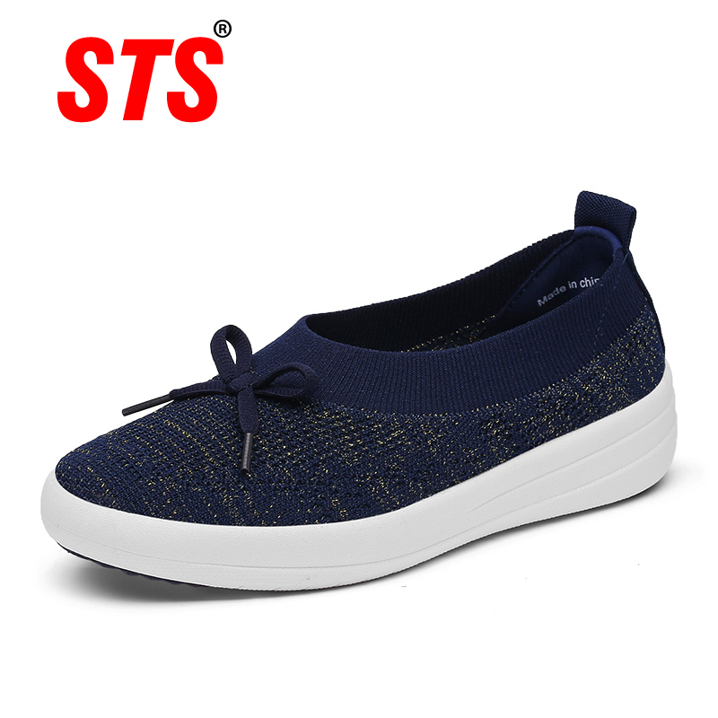 STS Brand 2019 New Spring Women Sneakers Shoes Flat Slip On Platform Sneakers For Women Black Breathable Mesh Sock Sneakers Shoe