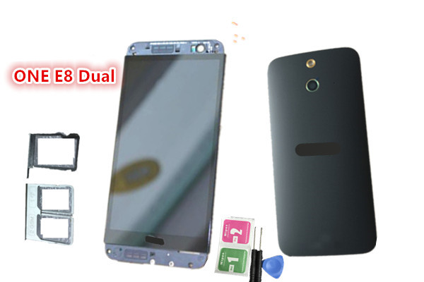 NEW Original~ Full LCD +Touch Screen Digitizer Assembly + frame black +housing +SIM Tray for HTC One E8 dual card  free shipping lcd screen display touch panel digitizer with frame for htc one m9 black or silver or gold free shipping