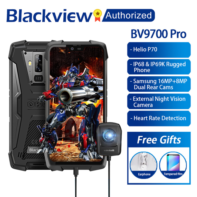 """Blackview BV9700 Pro IP68/IP69K Rugged Mobile Helio P70 Octa core 6GB RAM 128GB ROM 5.84"""" IPS Android 9.0 Smartphone 4G Face ID"""
