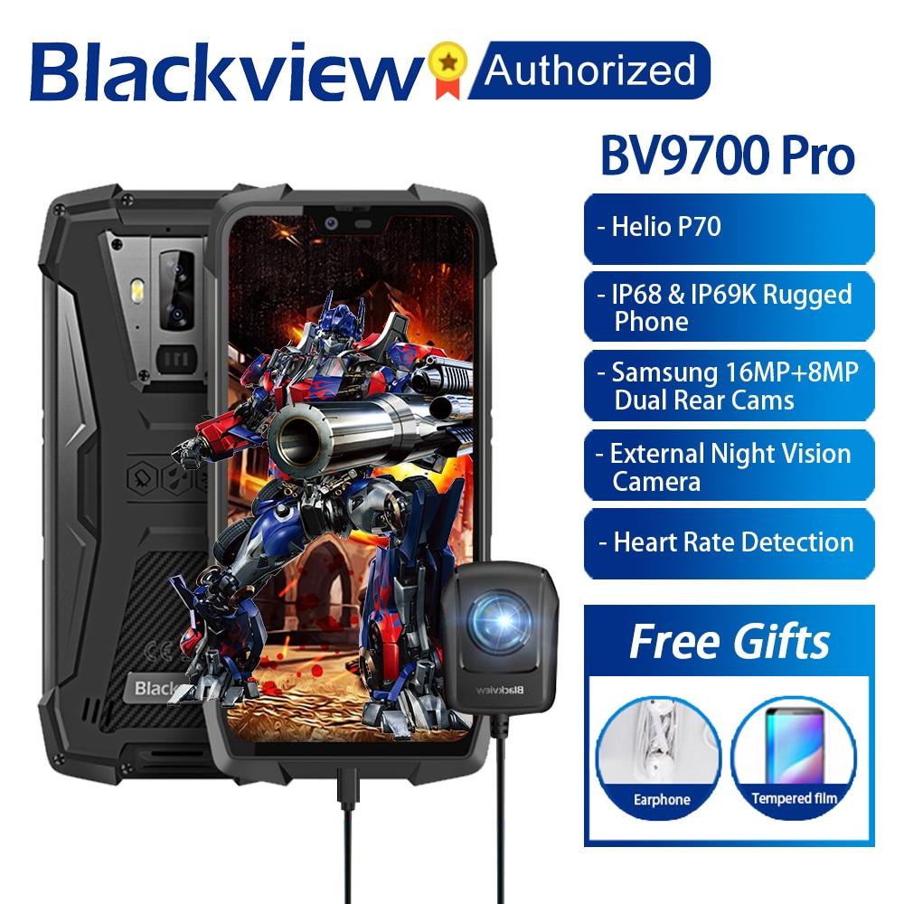 Blackview BV9700 Pro IP68/IP69K téléphone portable robuste Helio P70 Octa core 6GB RAM 128GB ROM 5.84 IPS Android 9.0 Smartphone 4G identification de visage