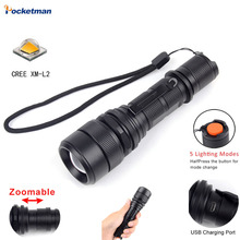 High-Powered LED Flashlight Cree XML L2 Zoomable Water Resistant 5 Modes High Lumen Camping Outdoor Emergency Flashlights