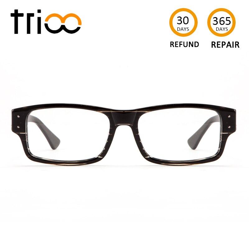 TRIOO Spessore Tempio Qualità Occhiali Miopia Maschio Quadrato Nero Astigmatica Oculos Grau Trasparente Correttiva Occhiali Da Vista Degli Uomini