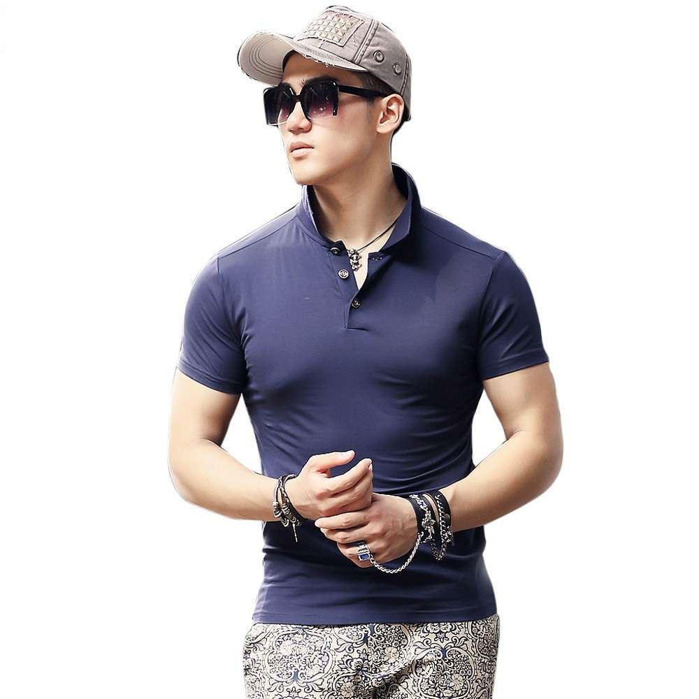 Beswlz-New-Men-s-Tops-Polo-Shirts-Summer-Short-Sleeve-Turn-down-Collar-Cotton-Slim-Classical
