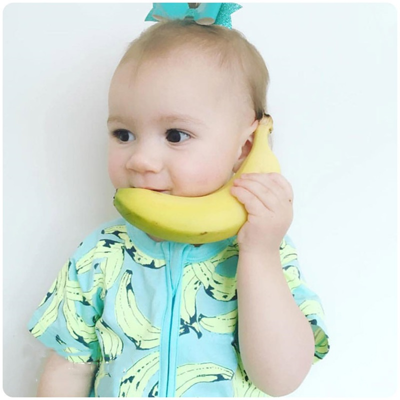 97a30d309c85 New Toddler Baby Summer Clothes Girl Boys Party Wear Little Baby Rompers  Banana Fitness Zipper Pajamas Newborn Take Home Outfits-in Rompers from  Mother ...