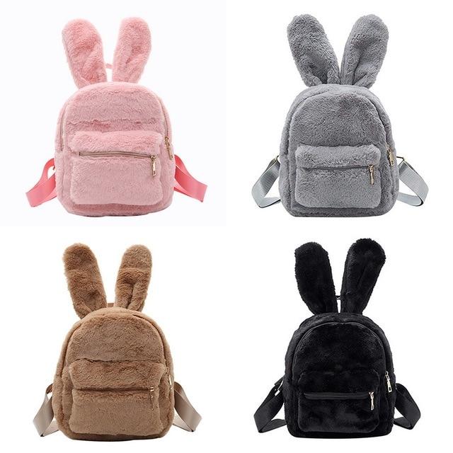 Cute Solid Faux Fur Backpack Rabbit Ear Winter Soft Women s Mini Furry  Fluffy Plush Backpack Backbag d1ef1de0ba839