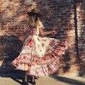 2017 das mulheres venda quente de praia boêmio sexy retro dress barra neck impressão floral longo maxi vestidos plissados hobo feriado dress