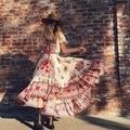 2017 venta caliente de bohemia de la playa de las mujeres sexy retro dress cuello slash impresión floral largo maxi vestidos plisado hobo vacaciones dress