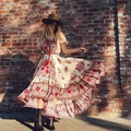 2017 women's hot sell Bohemian Beach Sexy retro dress slash neck floral printing long maxi dresses pleated hobo holiday dress