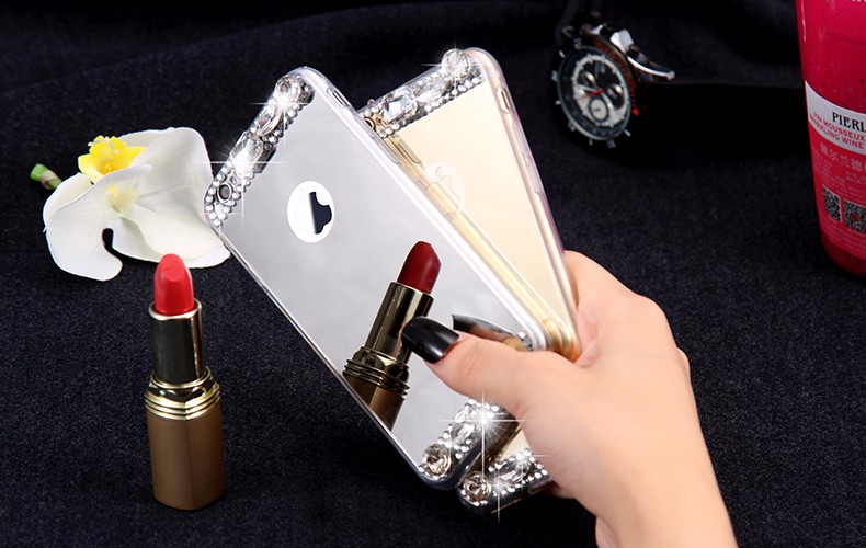 6S 7 Plus Luxury Diamond Glitter Mirror Case For Apple iPhone7 Plus 6 6s Plus 5 5S SE Dual Layer Bling TPU Slim Clear Back Cover (11)