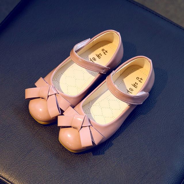 Crianças casual shoes 2016 nova marca de moda princesa bowknot couro pu flat shoes para o casamento festa da escola coreano primavera outono