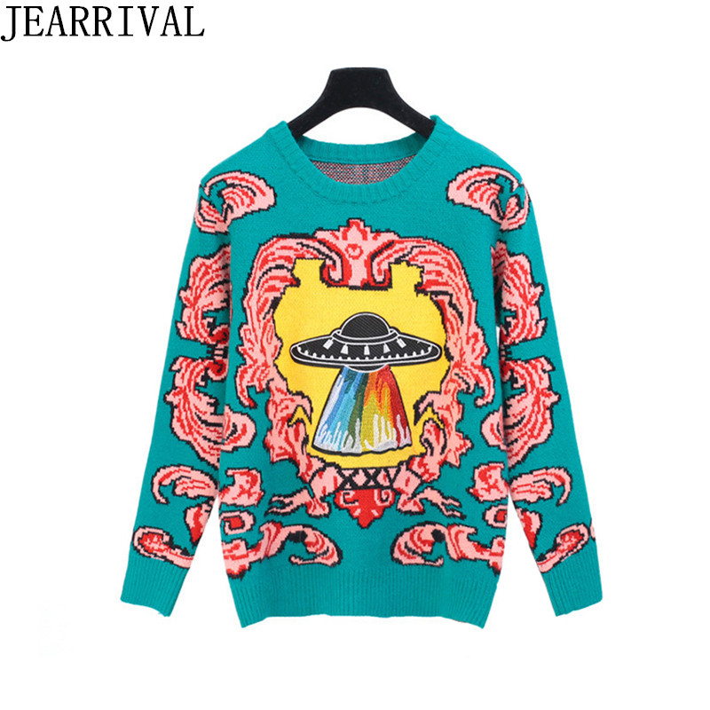 2017 Brand Fashion Runway Designer Sweater Women Autumn Winter Jacquard Long Sleeve O-Neck Pullovers Knitted Tops Pull Femme
