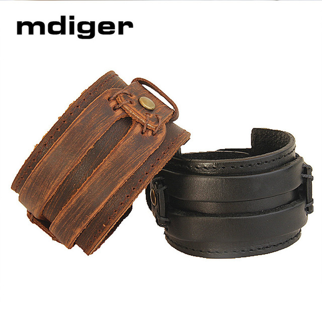 Mdiger Brand Creative Men Hand Wear Bracelet Chains Retro Leather