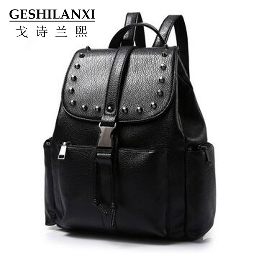 ФОТО 2016 bags famous brands women backpack fashion PU material embossing Pure color button metal decorate