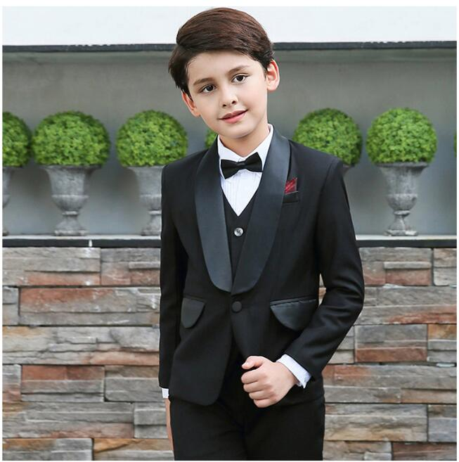 5 Pieces Boys suits for weddings Kids Prom Suits Black Wedding Suits for Boys Children Clothing Set Boy Formal Costume high quality school uniform new fashion baby boys kids blazers boy suit for weddings prom formal gray dress wedding boy suits