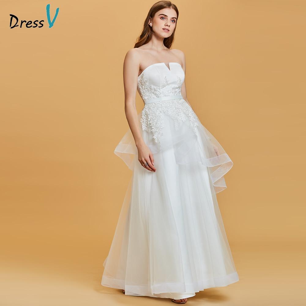 Dressv white evening dress cheap strapless lace appliques a line zipper up wedding party formal dress evening dresses