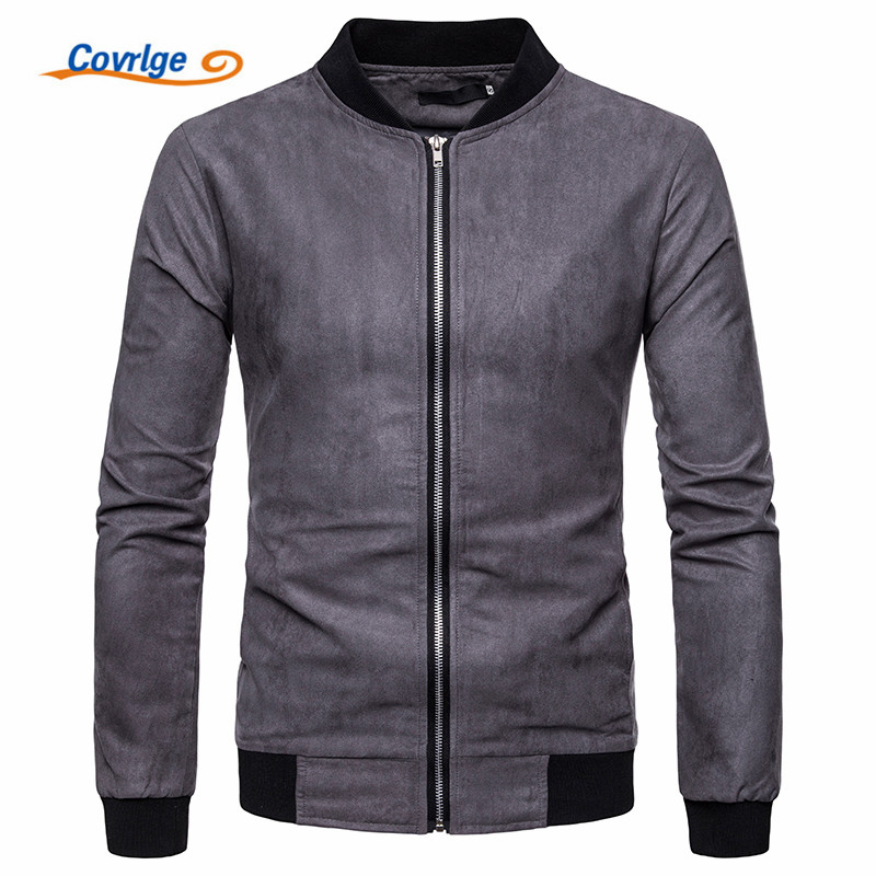 Covrlge 2018 Mens Brand Clothing Spring Autumn Casual Jackets Suede Outerwear Coats Trench Male Windbreaker MWJ133