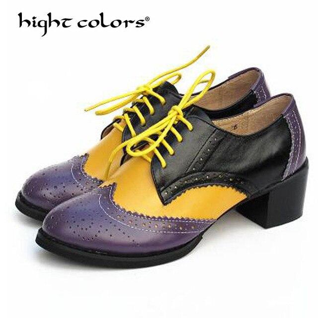 6b573a4d0f New Plus Size 33 42 Calcanhar Grosso De Salto Alto Sapatos Oxford Para As  Mulheres Do Vintage Da Moda Estilo Britânico Rendas Até mulheres Bombas de  Mulher