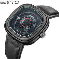 GIMTO Top Brand Luxury Quartz Watch Men Casual Fashion Big Dial Sports Wristwatch Leather Strap Male