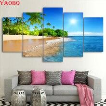 Pintura diamante 5 peças de água do mar palmeiras sol seascape mosaico ponto cruz diy 5d diamante bordado broca quadrado completo