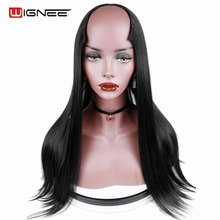 Wignee U Part 7 Clips In Long Straight Hair Synthetic Women Wig Natural Black False Cosplay Classic For Africa American