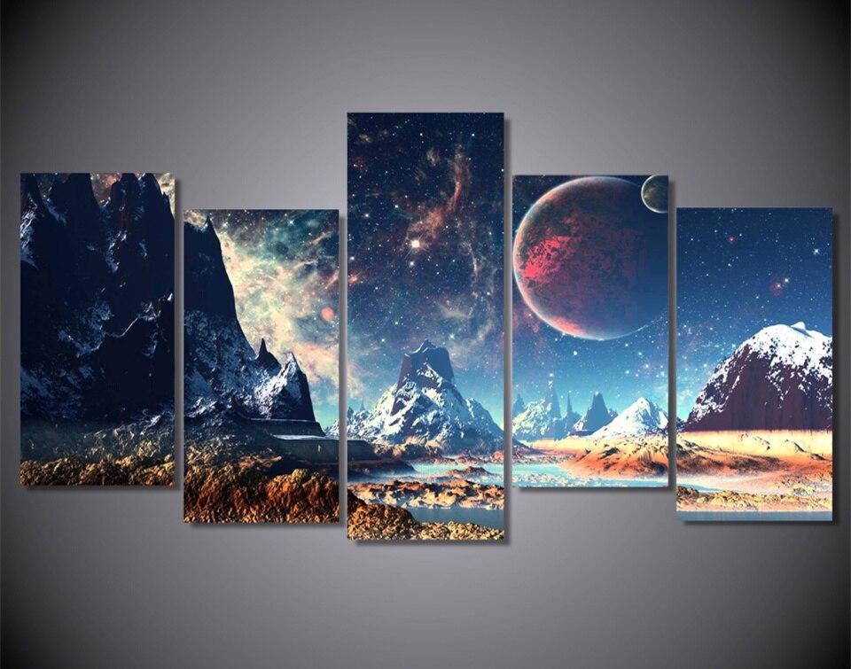 5Plane Home dekorace Nástěnné malby Krajina Wushan Planet Snow Lake Morden Modulární umělecký obrázek na plátně do obývacího pokoje