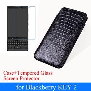 Dla Blackberry KEY2 luksusowe etui z prawdziwej skóry etui + ochronne szkło hartowane na ekran dla Blackberry Key 2 etui na klucze
