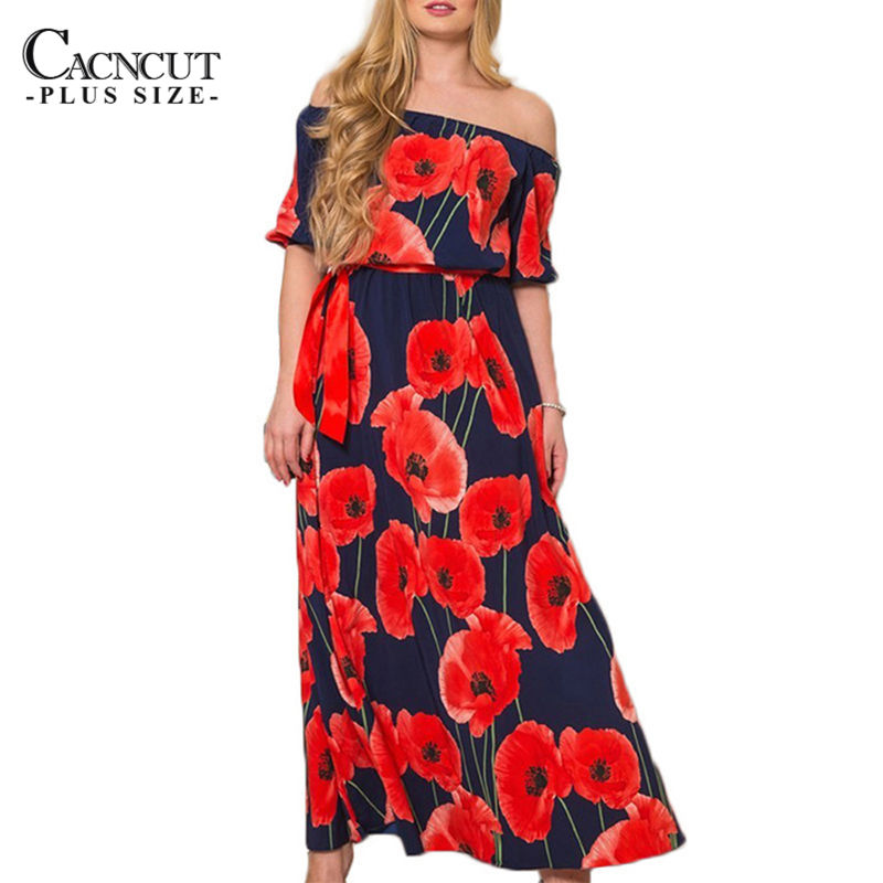Women Plus Size Flower Print Long Dress Maxi Big Large size Summer Dress off shoulder Slash neck Evening Party beach Dresses 6xl