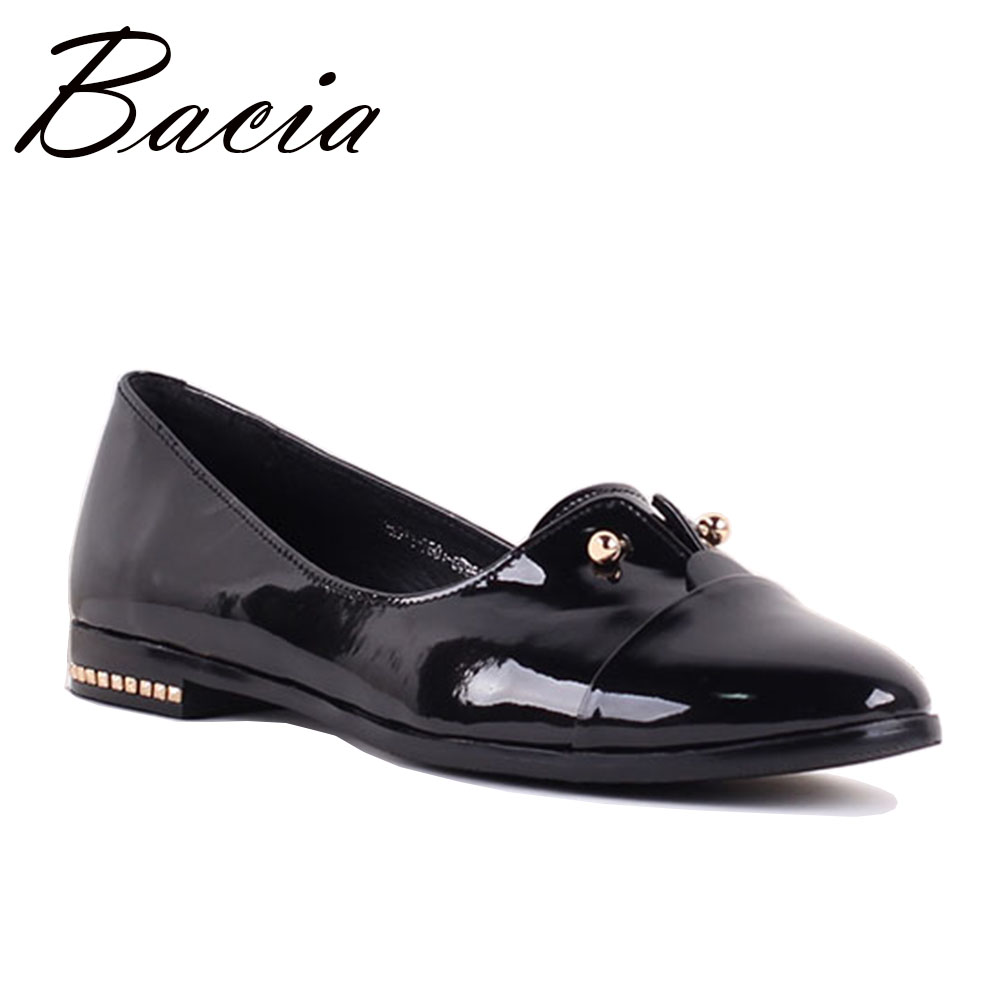Bacia New Women Real Leather Shoes Moccasins Loafers Soft Leisure Flats Female Casual Footwear Genuine Leather Size 35-41 SB038