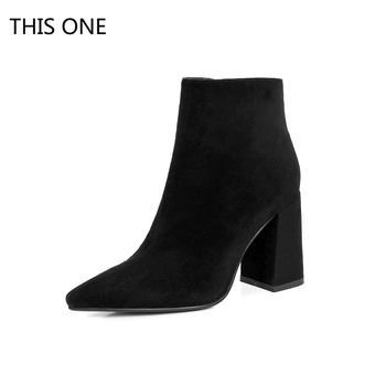 THIS ONE Women Flock Ankle Boots Round Toe Winter Women Boots Ladies Party High Heels Ankle Boots Zipper Thick Heels Brand Boots