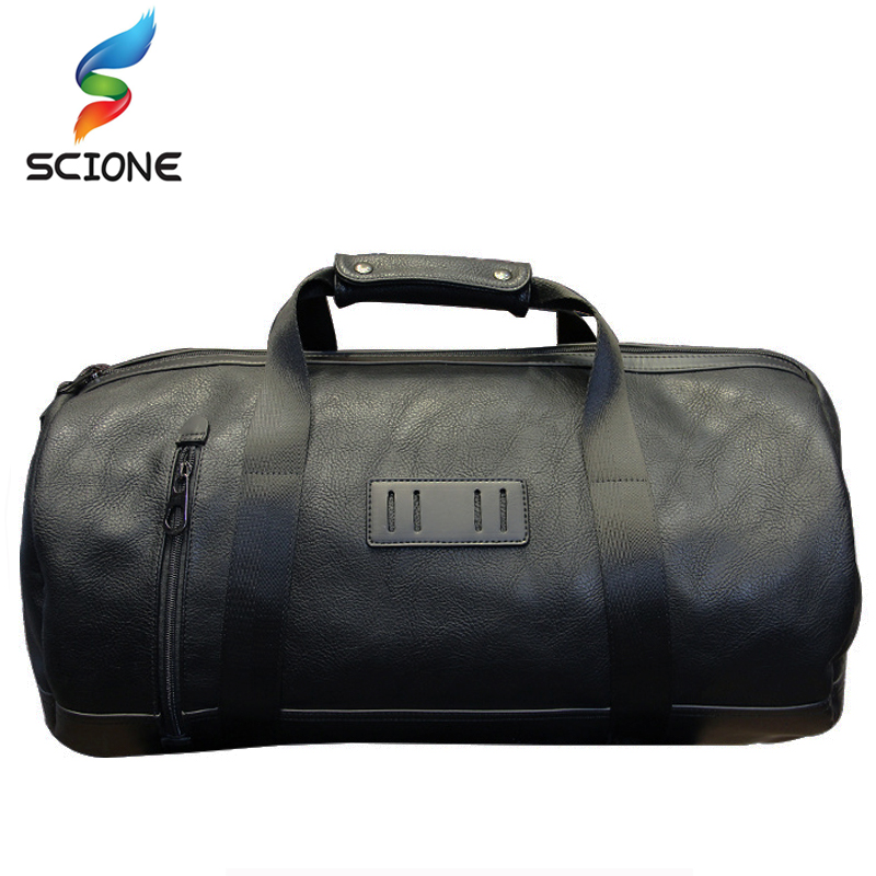 2018 Top PU Soft Leather Outdoor Waterproof Men's Sports Gym Bags Classic Travel HandBag Fitness Yoga Training Multifunction Bag temena large capacity outdoor sports bag for men new brand pu tote duffel bag multifunction travel sports gym fitness bag ac12