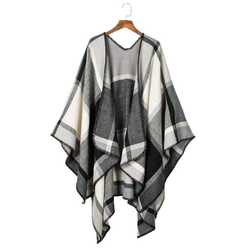 TieSet Luxury Brand 2018 Women Winter   Scarf   Warmer Shawl Plaid Blanket Knit   Wrap   Cashmere Poncho Capes Pashmina Double Sided