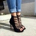 Mulheres Sapatos de Verão Roma Sapatos Das Senhoras Das Mulheres Do Dedo Do Pé Aberto Saltos Altos Bombas EU34-43 Grandes Sapatos Tamanho Das Mulheres