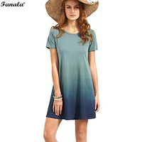 FANALA Casual Loose Dress 2017 Women T Shirt Dress O Neck Short Sleeve Blue Tie Dye