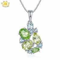 Hutang Gemstone Jewelry Real Peridot Lemon Quartz Aquamarine Solid 925 Sterling Silver Pendant Necklace Fine Fashion Jewelry