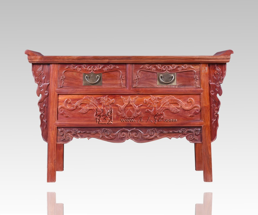 Palissandre salon bas armoires casiers classiques chinois Table TV en bois massif 2 tiroirs casiers Redwood comptoir Dragon sculpture - 2