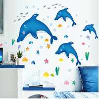 DIY Cartoon Dolphin Bathroom Decorative Vinyl Wall Stickers Fish Kids Rooms Home Decor Poster Animal Wallpaper