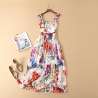 European and American women's fashion 2019 spring new style 3 d flower Condole belt Fashion printed pleated dress