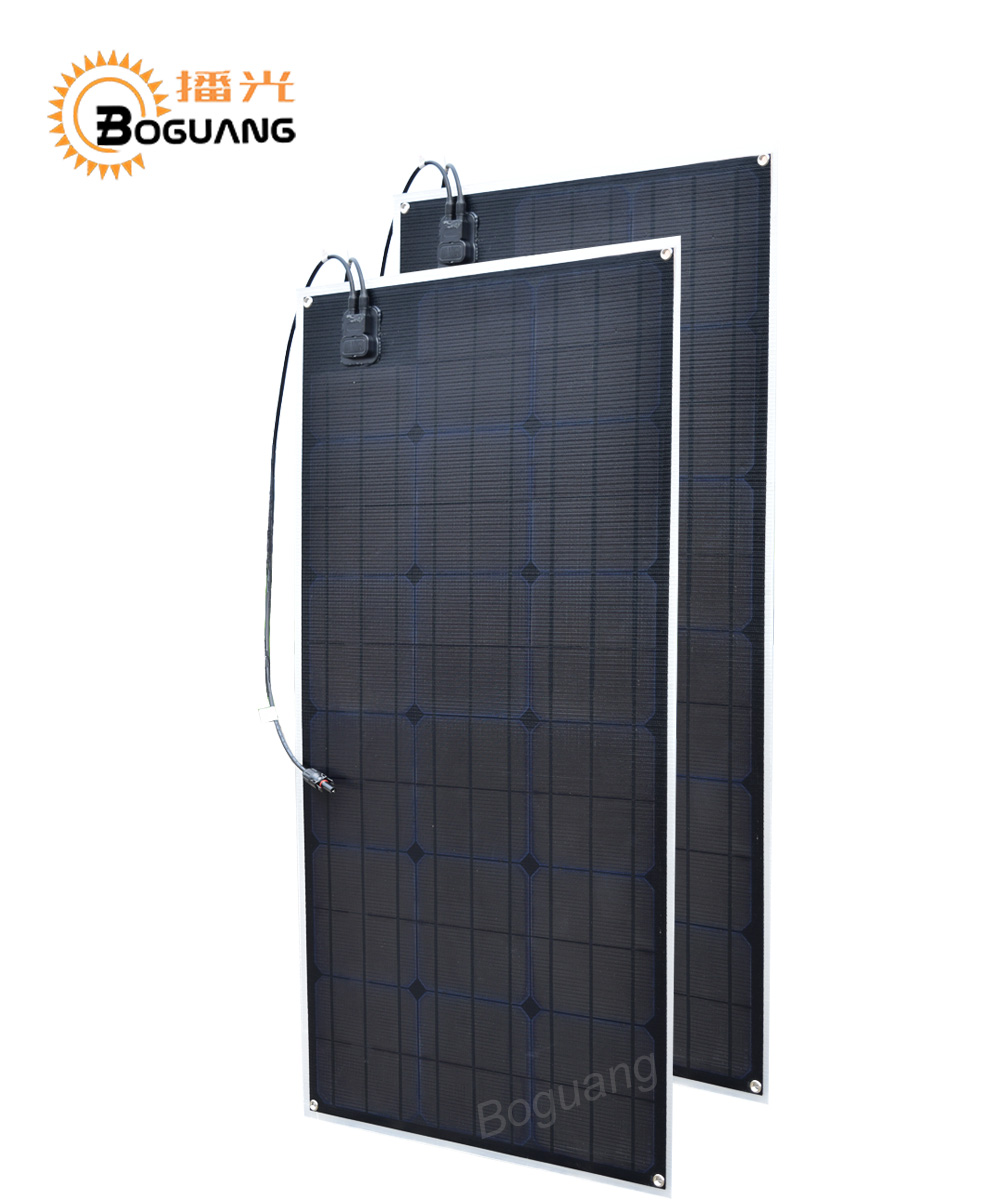 Boguang 2pcs 80w solar panel ETFE Monocrystalline 160w cell PCB module cable 12v battery LED light RV yacht boat power charger 50w 12v semi flexible monocrystalline silicon solar panel solar battery power generater for battery rv car boat aircraft tourism