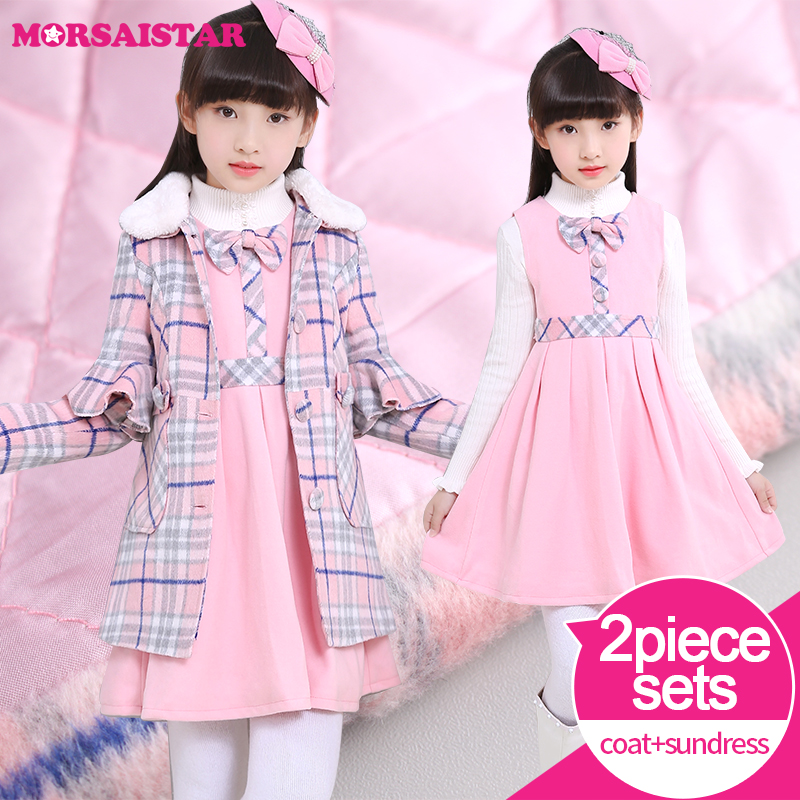 plaid wool padded overcoat children princess clothing girls 2pcs sets winter coats+dresses warm pink frozen dresses for girls autumn winter plaid wool two pieces girls children suit vest dress kids clothing sets white red wool