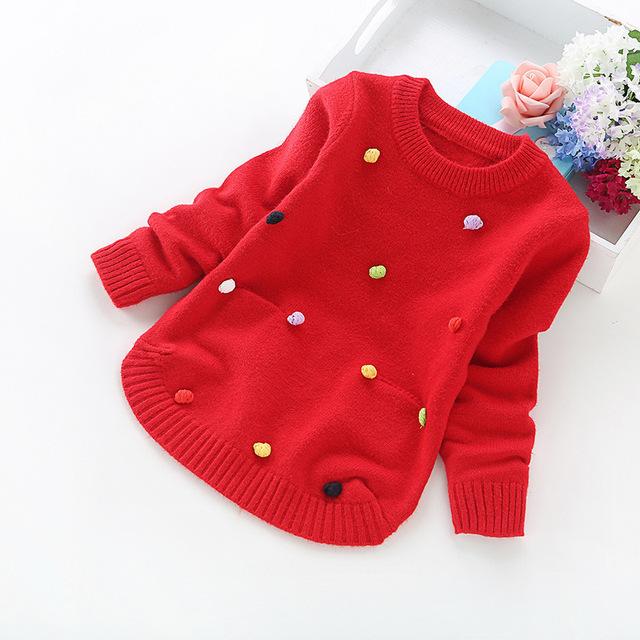 Niña suéter del bebé del o-cuello de manga larga de bolas de colores de la rebeca niño hizo punto suéteres jersey ropa de los niños 1-5 T