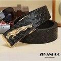 promotion  fashion new style design leather men Jaguar belt luxury metal box belts buckle businessman leather ceinture WA1311046