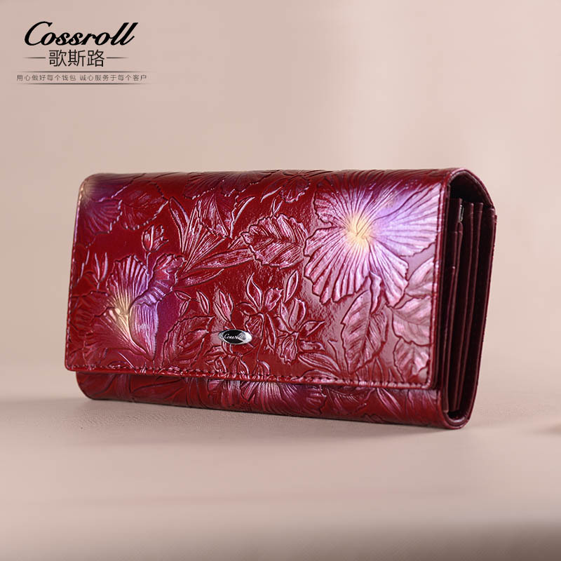 Vintage Genuine Leather Wallets Purses New European Fashion Female Long Embossed Flower Wallet for Women brand double zipper genuine leather men wallets with phone bag vintage long clutch male purses large capacity new men s wallets