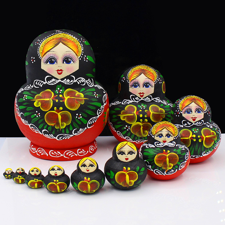 10pcs/set Wooden Traditional Matryoshka Dolls Russian Dolls Baby Toy Nesting Dolls Hand Painted Home Decoration Birthday Gifts