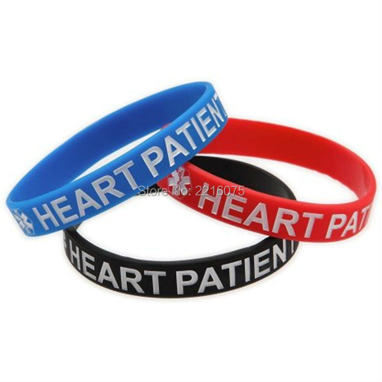 Heart Patient Three Band Silicone Medical Alert Bracelet