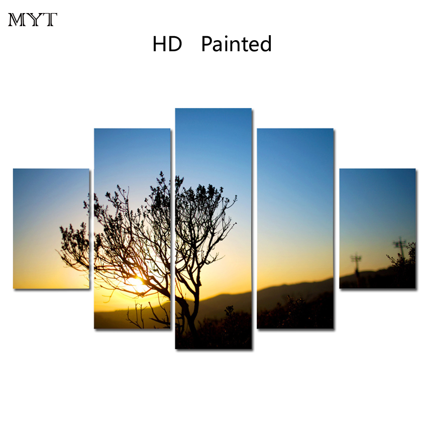 MYT Free shipping Hot Sale HD printed on Canvas sunset tree view Wall Painting Art Picture Home Decor On Canvas Modern