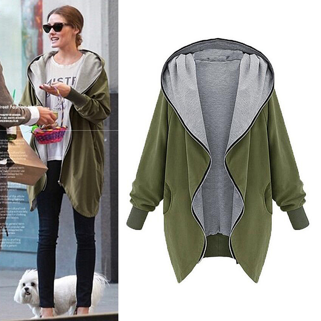 2016 primavera Europa e América Moda Casual Com Capuz Jaqueta Tamanho Grande Das Mulheres Era Magro blusão Mulheres casacos outerwear Cardigan